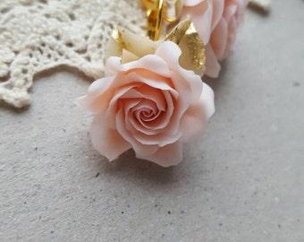 Mother's day gift Peach Rose earrings Cream flower earrings Bridal jewelry gift for here Gift for wife girlfriend Golden leaves