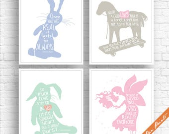 Velveteen Rabbit Quotes - Set of 4 Art Print (Unframed) (Featured in Bluebells, Forest Mist, Mint, Cotton Candy) Fairy Tale Art Prints