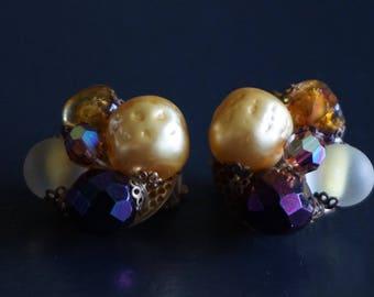 Vintage  Multi coloured Clip On Earrings// Mad Men Era//Vintage Jewellery.