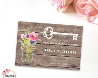 Housewarming Invitation - Flower Bouquet - Mason Jar - Rustic Style - Skeleton Key - Printable Digital Invitation - BEST SELLER