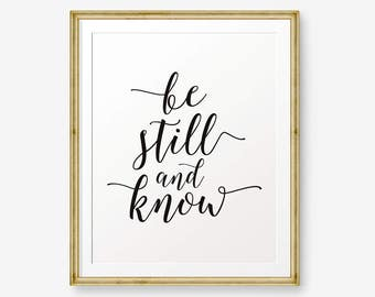 Be Still and Know Psalm 46:10, Bible Typography Wall Art,  Nursery Decor, Bible Verse Print, Kids Decor - Digital Download