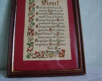 """Vintage framed text """"LIVE"""" by Victor Hugo,"""