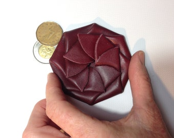 Small burgundy coin purse, rosette change purse, leather change purse, round coin purse