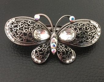 Small Filigree Gun Metal Crystal Butterfly Womens Hair Barrette Clip Hair Accessory Jewelry Piece