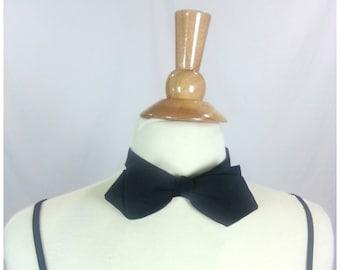 Vintage Black Fabric Bowtie / pointed corners grunge 90s 1990s adjustable formal evening bow tie neck tie