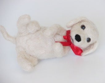 Little needle felted dog, creme with red Satin ribbon