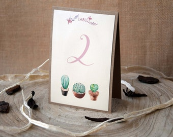 Cactus Wedding Table Numbers, Succulents Table Numbers, Unique Custom Table Numbers, Garden Table Numbers, Nature Table Numbers