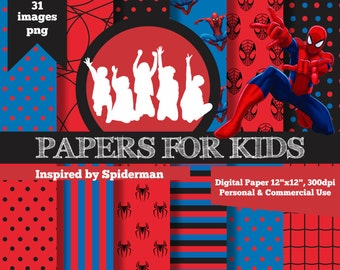 digital papers spiderman boys background birthday superhero clipart papers - Papers For Kids