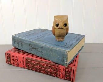 Vintage Old Crow 2 Stoneware Owl Mini Figurine, Mini Owl, Plant Decor, Craft Supply