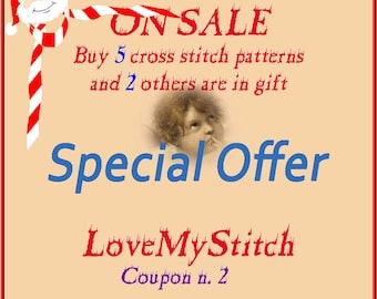 Special Offer - Buy 5 Cross Stitch Patterns and 2 others is in Gift, digital file pattern, needlepoint,  counted cross stitch