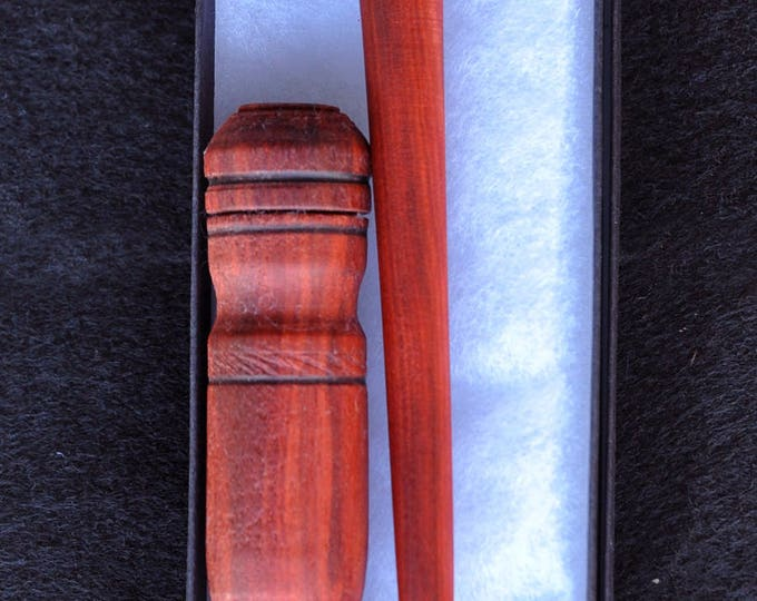Hand made from red heat wood stitch lay helper tool & needle case