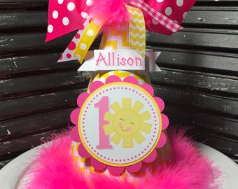 You Are My Sunshine Party Hat - Cake Smash Hat - Personalized Hat - Sunshine Party - Pink and Yellow - First Birthday Hat - 1st Birthday