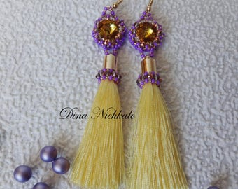 Chandelier earrings Yellow beaded tassel earrings Bright Fringe Statement Earrings Long Tassel Earrings Dangle earrings Bohemian earrings