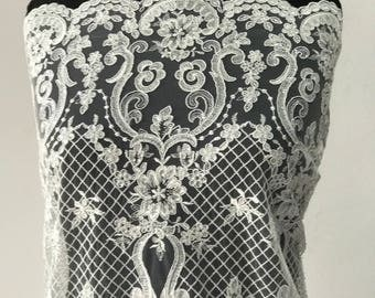 Off White Ivory bridal lace fabric embroidered tulle sequins Baroque design bridal latest fashion trend in bridal lace
