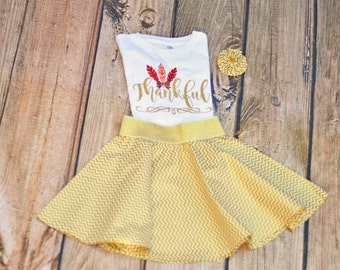 Thankful Outfit - Thanksgiving Shirt or Bodysuit - Thanksgiving Skirt - Baby, Toddler, or Girls - Gold Thankful Shirt - Thanksgiving Bow