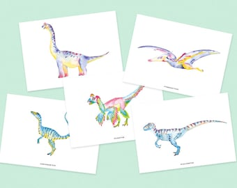 Pack of 5 cards dinosaurs