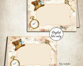 Digital Alice in Wonderland Blank Tent Cards + Eat Me Drink Cards - Name Place Cards - Tea Party,Birthday,Wedding,DIY,Download,