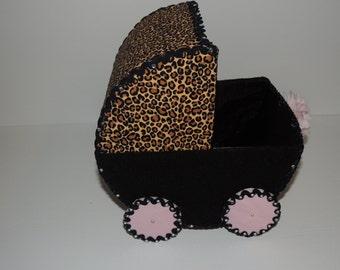 Handmade Pink/ Black Cheetah Print Baby Carriage