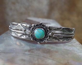 Fred Harvey Era Sterling Silver and Turquoise Petite Cuff Bracelet