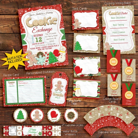 Cookie Exchange Cookie Swap Holiday Party Invitation / cookie exchange party package