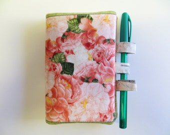 Notepad - Notebook Cover - Memo Pad Cover - Roses Theme Fabric - Purse Notepad Holder