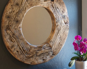 Reclaimed Wood Round Mirror