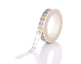 Roll of 10 m masking tape 8mm hearts Garland