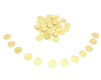 50 charms round Stardust Gold 8mm