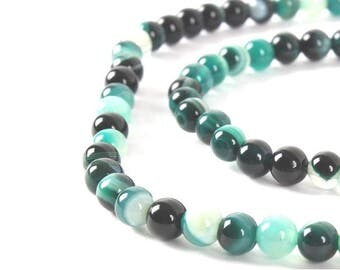 90 beads of Agate tones Cyan green rounds 4mm