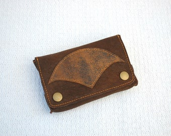 Brown Tribe - Tobacco pouch in brown leather, confounded tobacco in brown leather, brown pouch
