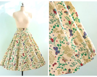 Vintage 1950's Butterfly Botanical Circle Skirt | Size Extra Small