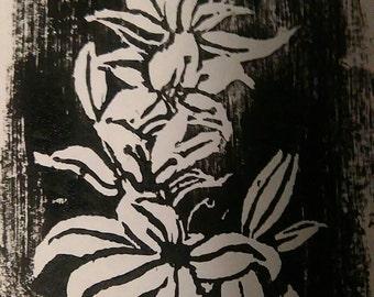 Lillies, a linocut print