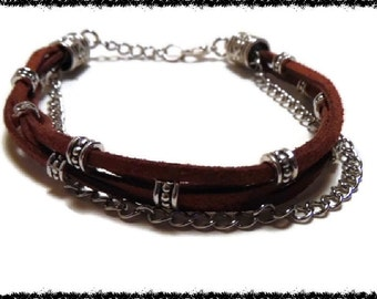 Brown Boho Leather and Silver Bead Silver Chain Bracelet