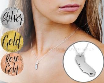 California Necklace, I heart California, Silver Gold Cali necklace