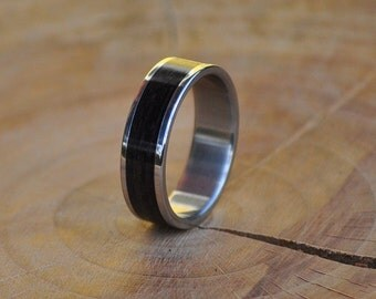 Stainless Steel Ring for Women and Men with Wrapped Macassar Ebony Wood Inlay