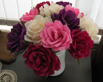 Roses bouquet/ Paper flower wedding decor/ Bridal bouquet/ Bridesmaid/ Wedding bouquet/ Brid flower/ Paper rose/ Ivory Pink Dark purple