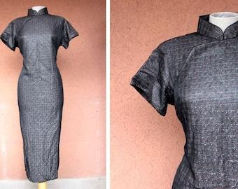 1970's Unusual Cheongsam Metallic Threads Black Dress - Size M/L