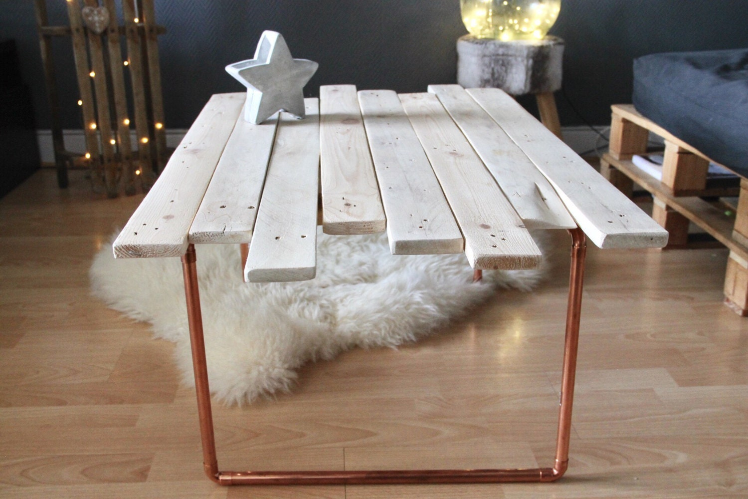 Table low range copper pipes - Transformer palette table basse ...