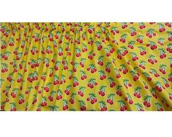 Window Curtain or Valance Cherries Yellow Polka Dot
