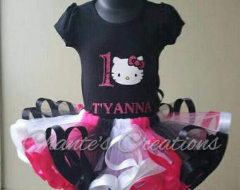 Kitty; pink, black and white tutu set