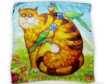 Square Scarf, Red Cat, Women Silk Scarves, Silk Scarves, Designer Scarf, Blue Silk Scarf, Cat Scarf, Satin Scarf,Luxury