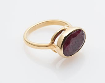 Ruby gold ring, ruby silver ring, gold ruby ring, natural stone ring, red stone ring, vintage style ring, gift for her, ruby antic ring