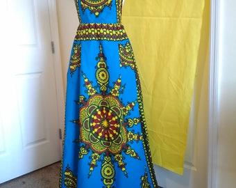High Vibe Backless Dashiki Print Dress