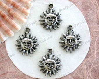 Sun Charms, Lead Free Pewter Suns, Made in America USA Copyright © Protected Pewter Beads, KF Signature Series ~ K277 AP