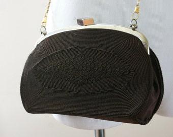 1940-50's Gold Seal Geometric Brown Corde Vintage Handbag Shoulder Bag Purse Evening Bag - BT-583