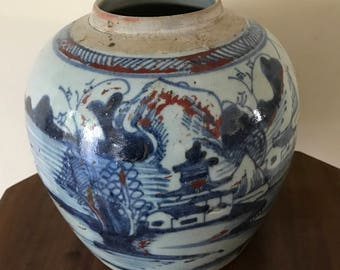 A Large c18th Century Chinese Clobbered Jar