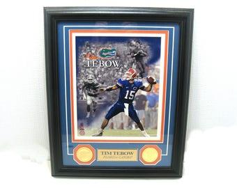Vintage tim tebow framed picture-tim tebow coins-university of florida football framed picture-u of f gators-florida gators quarterback