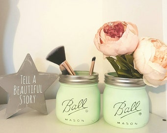Painted Mason Ball Jars set of 2 - Perfect for Home Decor