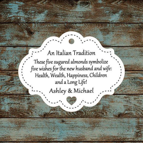 Favor Tags, Jordan Almond Favor Tags, Sugared Almond Favor Tags, Italian Wedding Favor Tags Stitched with Heart Cut Out #614 - Qty: 30 Tags