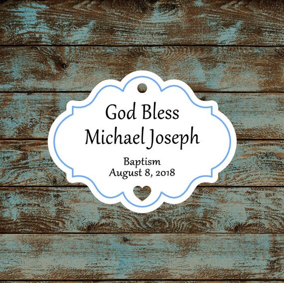 Personalized Favor or Gift Tags - God Bless Baptism Tags with Blue Border #766 - Quantity: 30 Tags